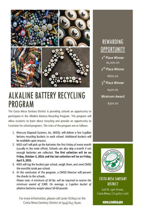 We are Recycling Alkaline Batteries! Bring them to the office.