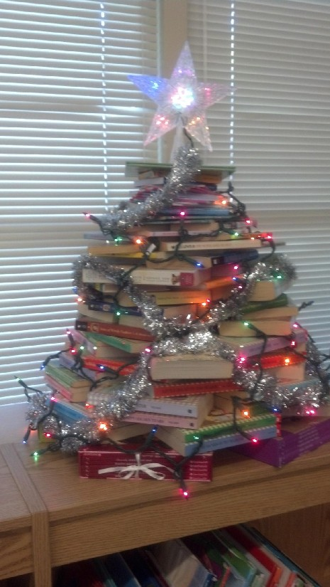 Come see our Book Tree in the Library! Happy Holidays from Mrs. Sutton!